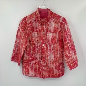 Chicos reversible pink tie dye jacket button 2 L